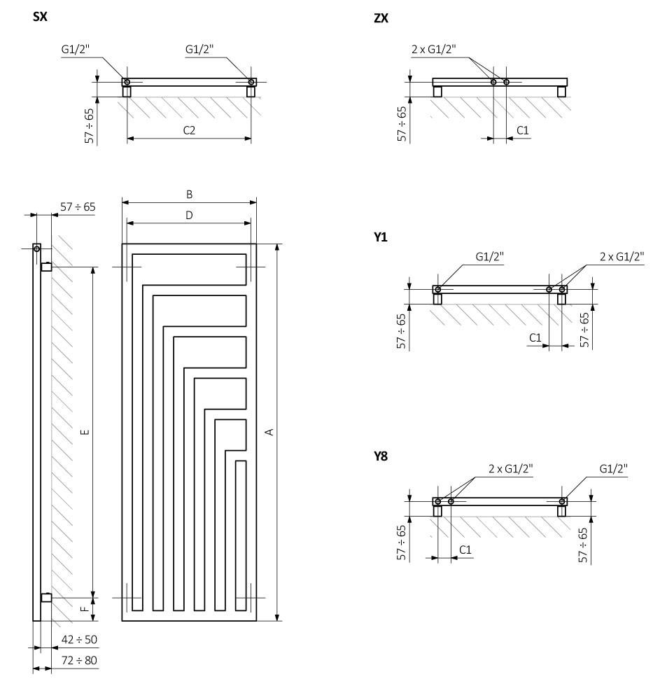 Θερμαντικό σώμα TERMA Angus V - Τεχνικά Χαρακτηριστικά