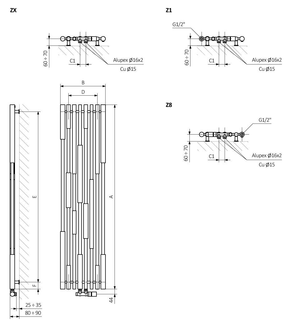 Θερμαντικό σώμα TERMA Cane - Τεχνικά Χαρακτηριστικά