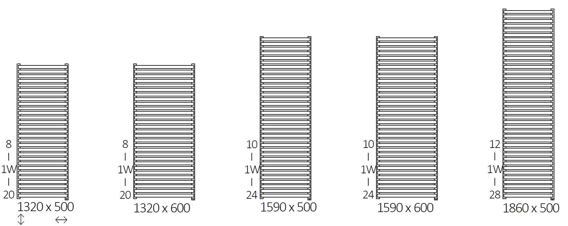 Θερμαντικό σώμα / Πετσετοκρεμάστρα TERMA City One - Τεχνικά Χαρακτηριστικά