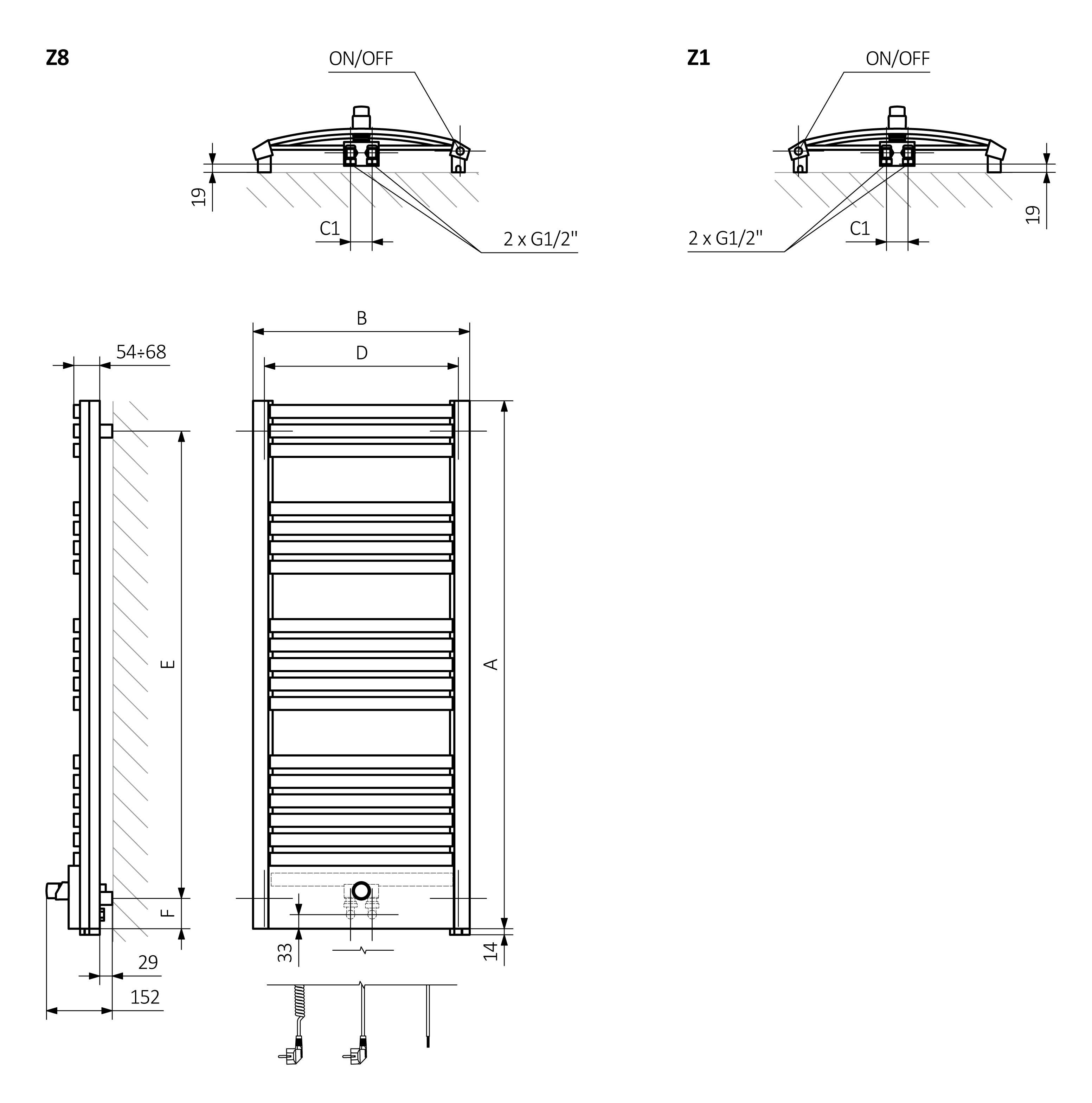 Πετσετοκρεμάστρα / Θερμαντικό Σώμα TERMA Dexter Pro One - Τεχνικά Χαρακτηρστικά