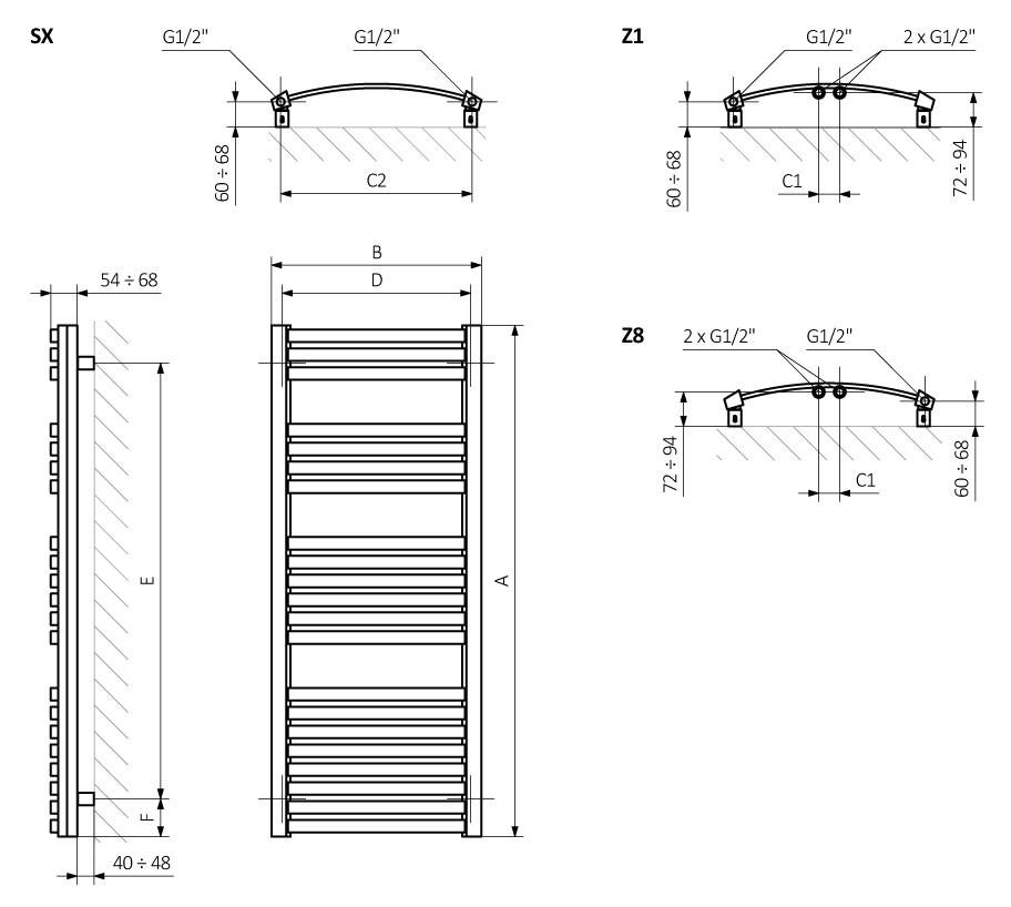 Θερμαντικό σώμα / Πετσετοκρεμάστρα TERMA Dexter - Τεχνικά Χαρακτηριστικά
