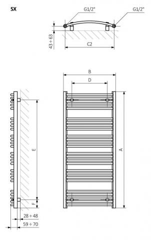 Πετσετοκρεμάστρα TERMA Domi - Τεχνικά Χαρακτηριστικά