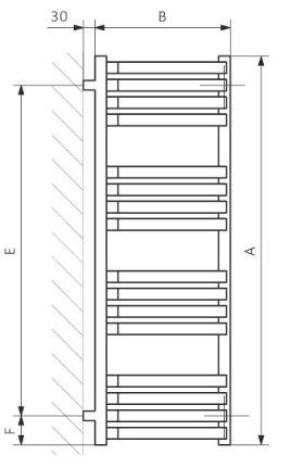 Πετσετοκρεμάστρα TERMA Incorner - Τεχνικά Χαρακτηριστικά