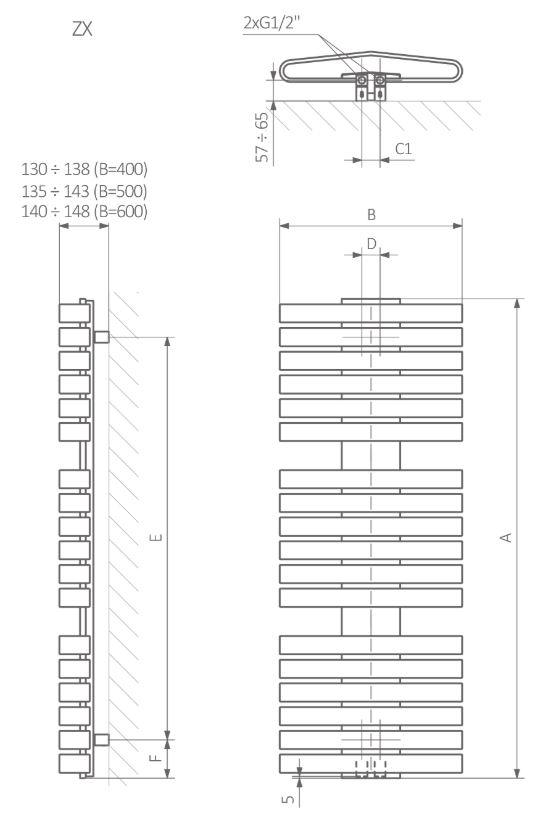 Πετσετοκρεμάστρα TERMA Iron D - Τεχνικά Χαρακτηριστικά