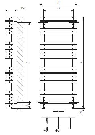 Πετσετοκρεμάστρα TERMA Kioto One - Τεχνικά Χαρακτηριστικά