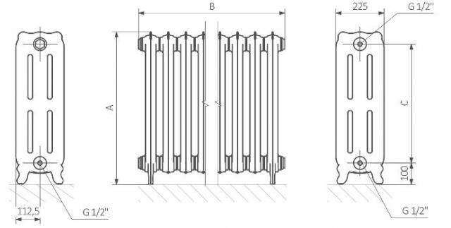 Θερμαντικό Σώμα TERMA Oxford- Τεχνικά Χαρακτηριστικά