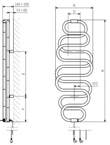 Θερμαντικό Σώμα / Πετσετοκρεμάστρα TERMA Perla E -Τεχνικά Χαρακτηριστικά