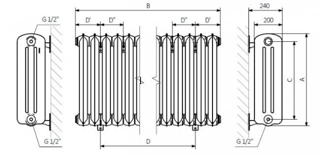 Θερμαντικό Σώμα TERMA Plain 3k -Τεχνικά Χαρακτηριστικά