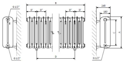 Θερμαντικό Σώμα TERMA Plain -Τεχνικά Χαρακτηριστικά