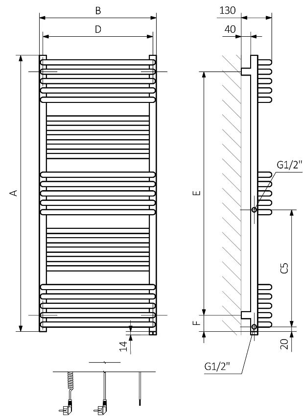 Πετσετοκρεμάστρα TERMA Pola One - Τεχνικά Χαρακτηριστικά