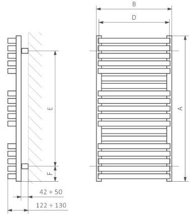 Θερμαντικό Σώμα / Πετσετοκρεμάστρα TERMA Quadrus Bold - Τεχνικά Χαρακτηριστικά