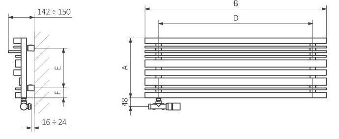Θερμαντικό Σώμα TERMA Sherwood H - Τεχνικά Χαρακτηριστικά
