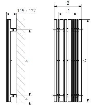 Θερμαντικό Σώμα TERMA Sherwood V E - Τεχνικά Χαρακτηριστικά