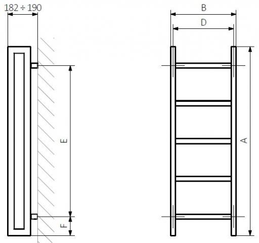 Θερμαντικό Σώμα / Πετσετοκρεμάστρα TERMA Stand - Τεχνικά Χαρακτηριστικά
